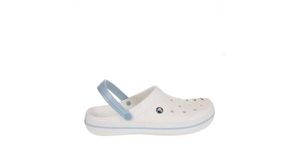 Pánske bielo-modré dreváky Crocs s potlačou