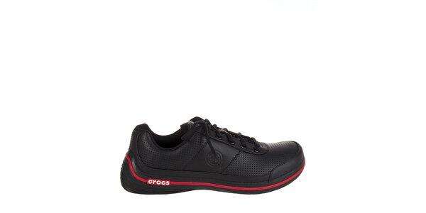 Pánske čierne kožené tenisky Crocs