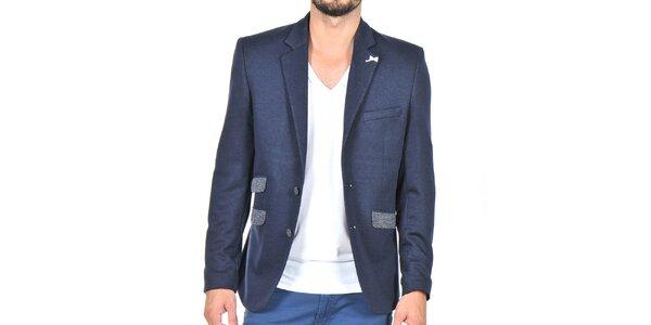 Pánske tmavo modré sako s lakťovými nášivkami Giorgio di Mare