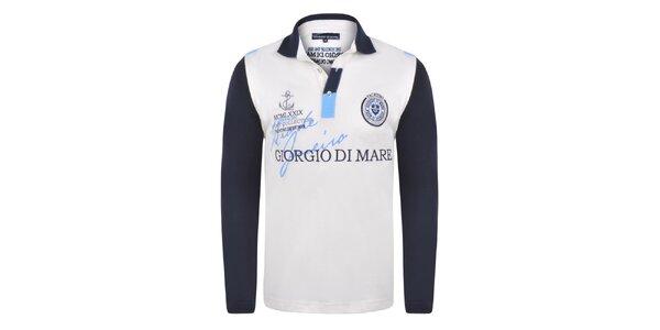 7a7c09cdf104 Pánske polo tričko s tmavo modrými rukávmi Giorgio Di Mare