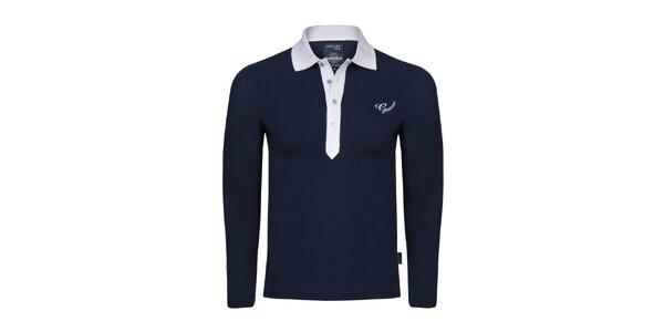 Pánske tmavo modré polo tričko s bielym límčekom Giorgio di Mare