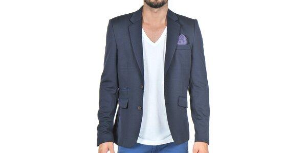 Pánske tmavo modré sako s vreckovkou Giorgio Di Mare