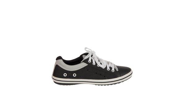 Pánske čierno-biele kožené tenisky Crocs
