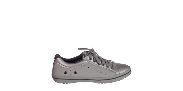 Pánske strieborrno-šedé kožené tenisky Crocs