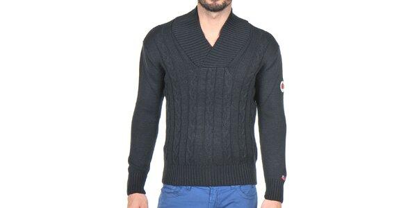 Pánsky čierny pletený sveter Giorgio di Mare