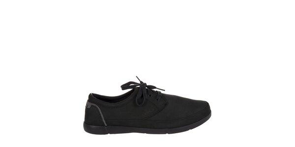 Pánske čierne kožené polobotky Crocs