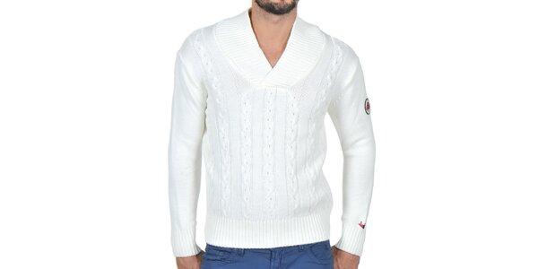 Pánsky smotanovo biely pletený sveter Giorgio di Mare