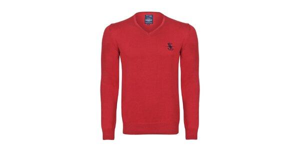 Pánsky červený sveter s véčkovým výstrihom Giorgio di Mare