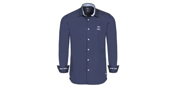 Pánska modrá košeľa s modrými výšivkami Giorgio di Mare