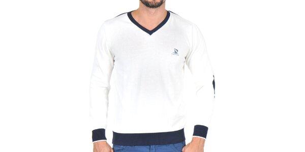Pánsky krémový sveter s kontrastnými lemami a lakťami Giorgio di Mare