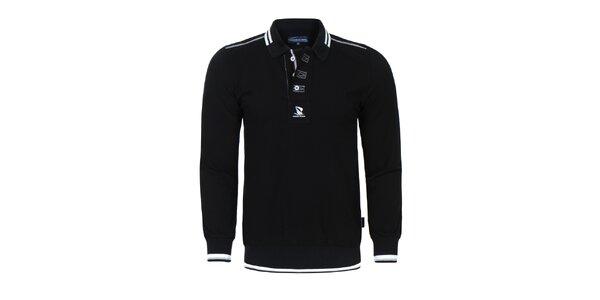 Pánske čierne polo tričko s dlhým rukávom Giorgio Di Mare