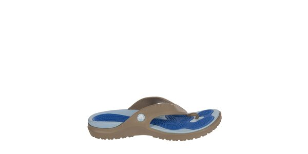 Pánske khaki-modré žabky Crocs s masážnou stielkou
