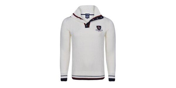 Pánsky krémový sveter s lakťovými nášivkami Giorgio di Mare
