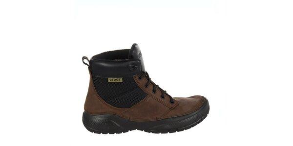 Pánske hnedo-čierne kožené topánky Crocs