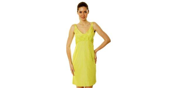 Dámske citrónovo žlté šaty s aplikáciou Roberto Verino