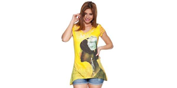 Dámske žlté tričko s potlačou Peace&Love