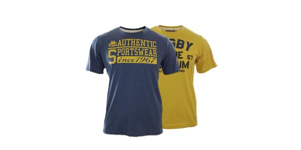 Set dvoch pánskych tričiek Kappa s nápisy - horčicové, modré