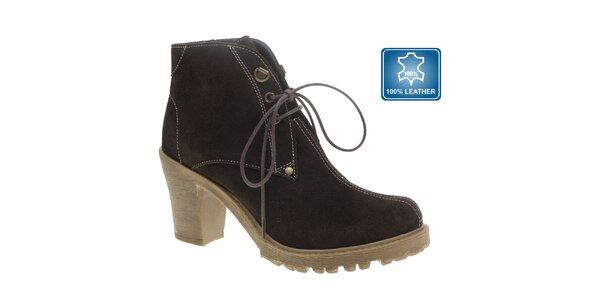 Dámske tmavo hnedé členkové topánky so šnúrkami Beppi