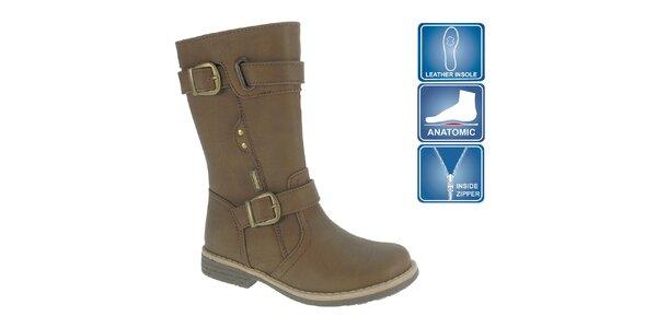 Dievčenské hnedé topánky s remienkami Beppi