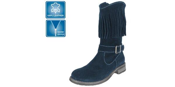 Dámske tmavo modré topánky so strapcami Beppi
