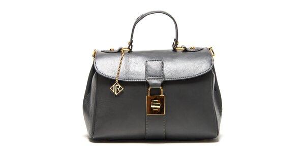 Dámska šedá kožená kabelka so zlatým zámčekom Isabella Rhea