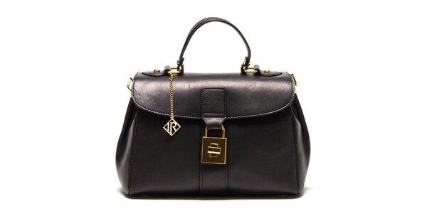 Dámska čierna kožená kabelka so zlatým zámčekom Isabella Rhea
