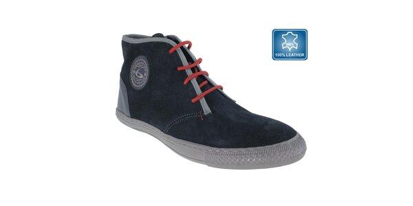 Pánske tmavo modré topánky s červenými šnúrkami Beppi