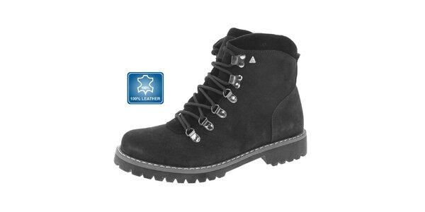 Pánske čierne členkové topánky so šnurovaním Beppi