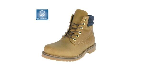 Pánske béžové kožené členkové topánky s námorníckym prvkom Beppi