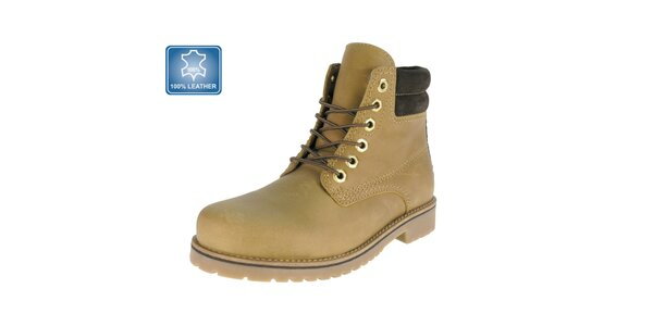 Pánske béžové kožené členkové topánky s hnedým prvkom Beppi
