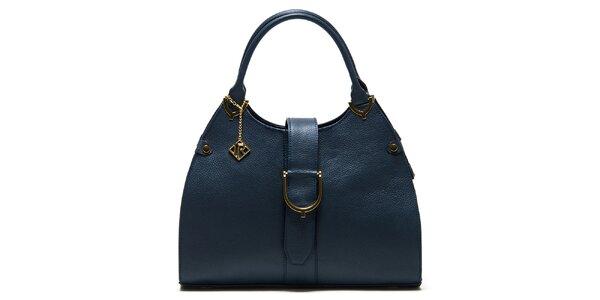 Dámska tmavomodrá kožená kabelka s remienkom Isabella Rhea