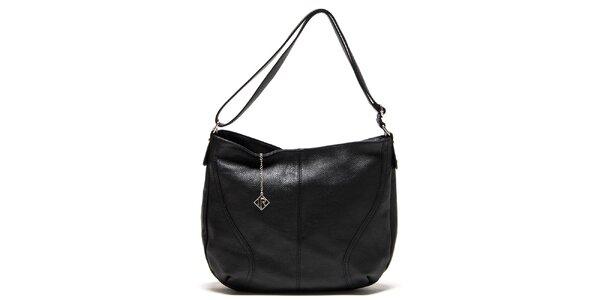 Dámska čierna kožená kabelka s jedným pútkom Isabella Rhea