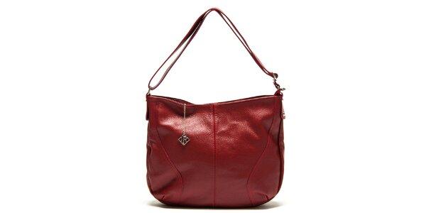 Dámska červená kožená kabelka s jedným pútkom Isabella Rhea