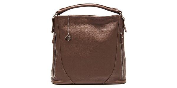 Dámska kožená kabelka so zipsami Isabella Rhea