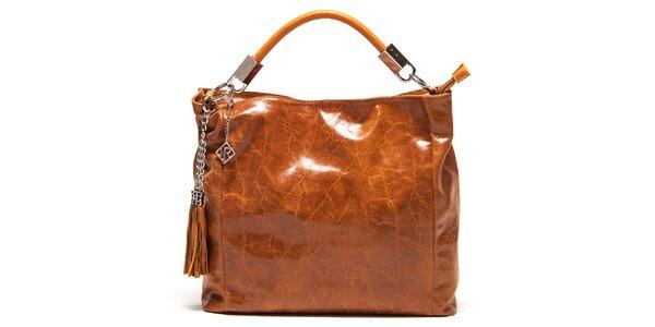 Dámska lesklá svetlo hnedá kabelka so strapcami Isabella Rhea