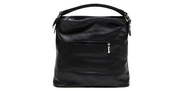 Dámska čierna kožená kabelka so zipsami Isabella Rhea