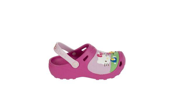 Dievčenské malinové Hello Kitty papuče Crocs