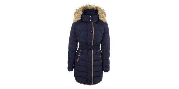 Dámsky tmavo modrý kabát s opaskom a kožúškom DJ85°C