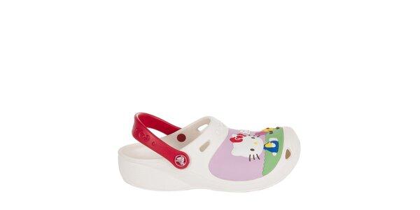 Dievčenské biele Hello Kitty papuče Crocs
