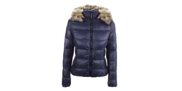 Dámska tmavo modrá prešívaná bunda s kapucňou B.style