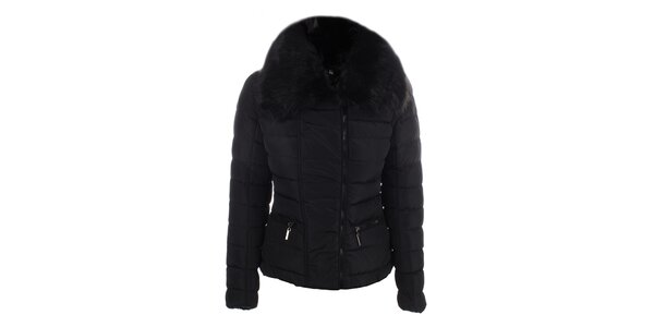 Dámska čierna bunda s veľkým golierom B.style