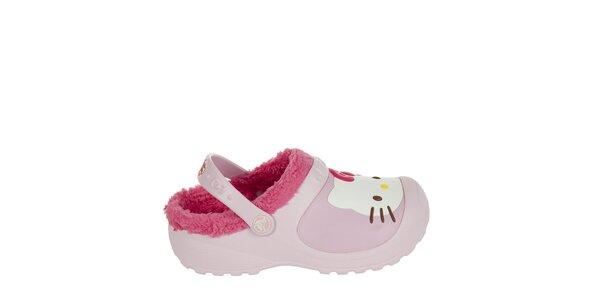 Dievčenské ružové papuče s plyšom Crocs