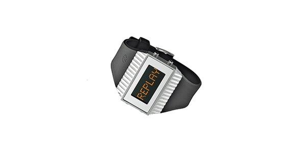 Čierno-strieborné digitálne hodinky Replay
