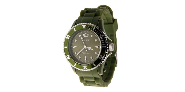 Tmavo zelené hodinky Jet Set s pryžovým remienkom