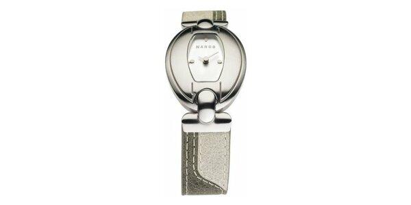 Dámske hodinky Mango s bielym ciferníkom a béžovým koženým remienkom