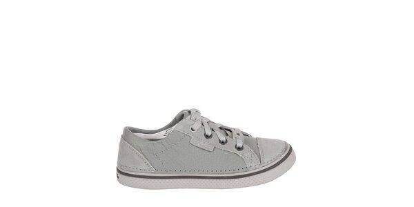 Chlapčenské šedé kožené tenisky Crocs