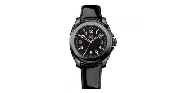 Dámske čierne keramické hodinky s lesklým remienkom Tommy Hilfiger