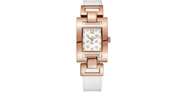 Dámske ružové oceľové hodinky s farebným hranatým ciferníkom Tommy Hilfiger