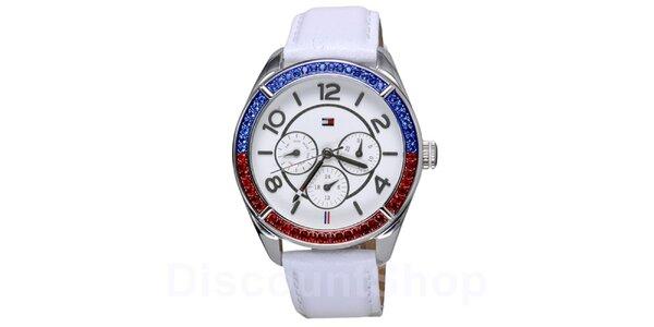 Dámske biele hodinky s farebnými kryštáľmi Tommy Hilfiger