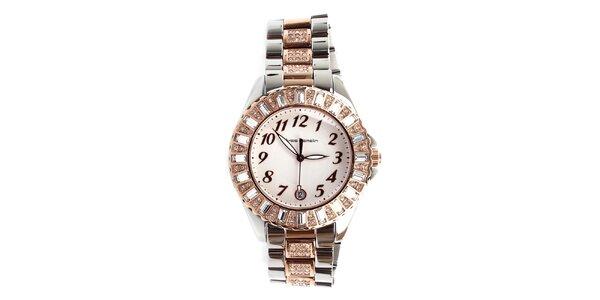 Dámske strieborno-zlaté hodinky s kamienkami Yves Bertelin